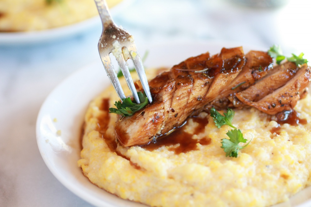 Tom's Balsamic Orange Glazed Chicken with Goat Cheese Polenta