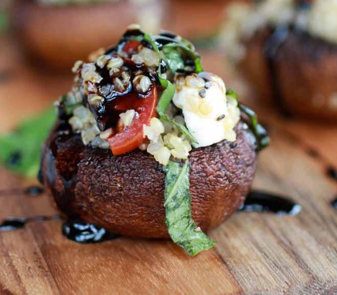 Tom's Caprese Quinoa Stuffed Mushrooms