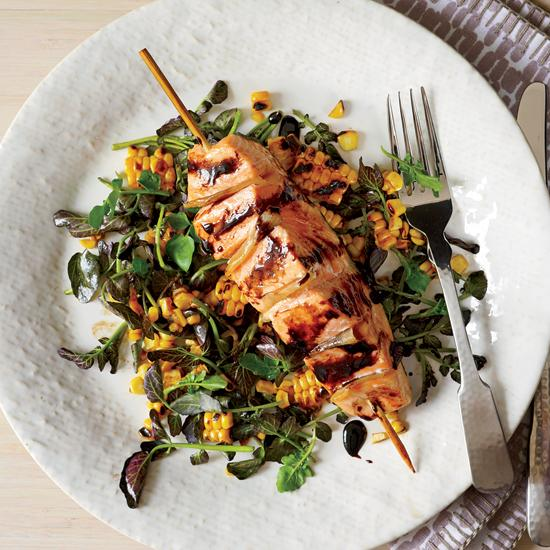 Tom's Ginger Salmon & Grilled Corn Salad