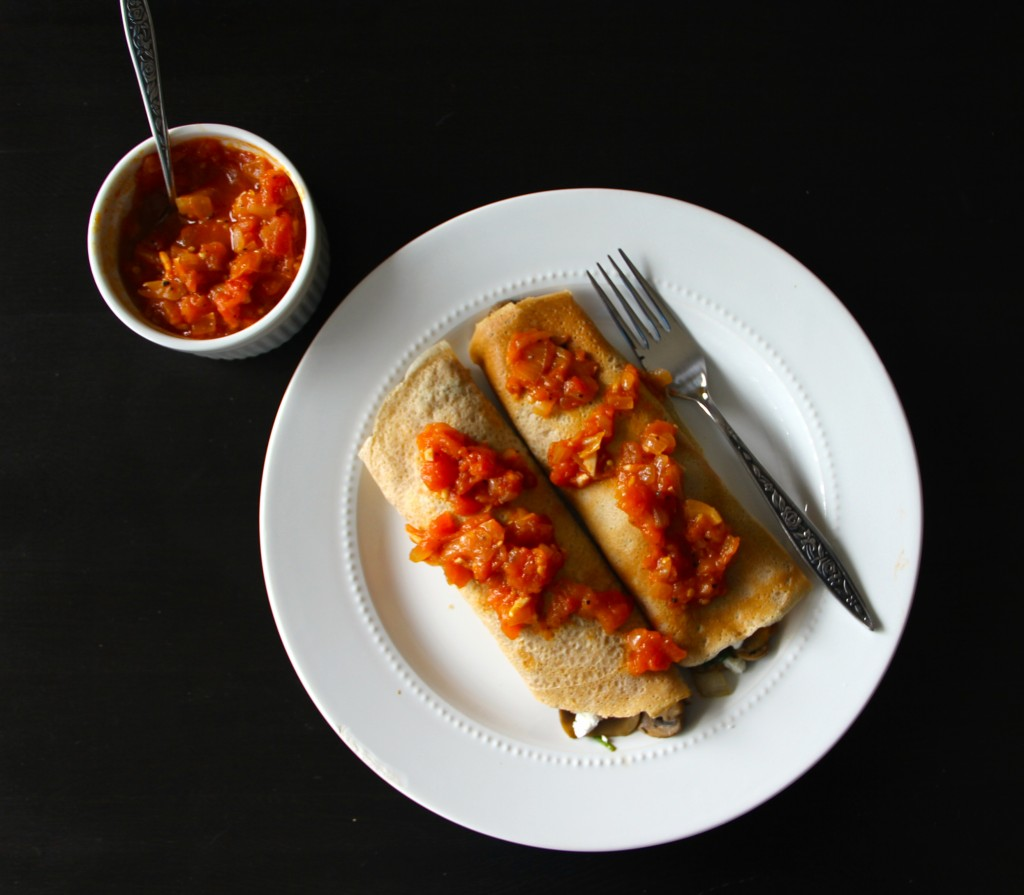 Spinach & Mushroom Crepes with Balsamic Tomato Jam