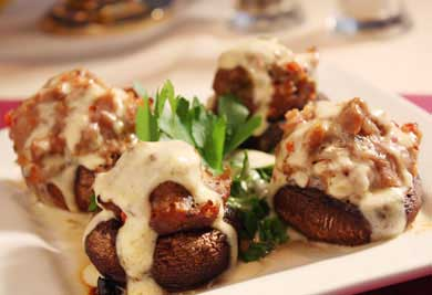 Tom's Stuffed Mushrooms Hollandaise