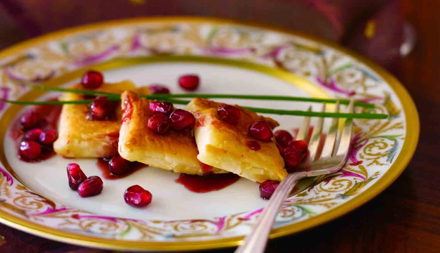 Tom's Toasted Brie with a Pomegranate Raspberry Reduction