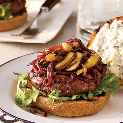 Tom's Cabernet Balsamic Burgers with Sautéed Mushrooms & Onions