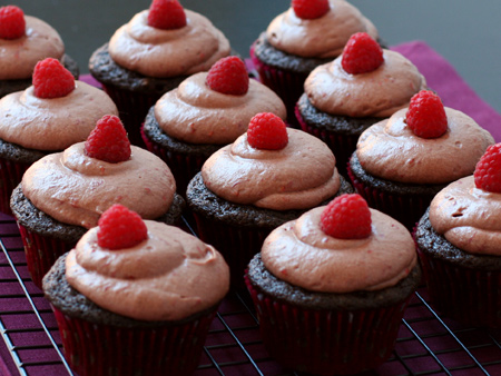 Tom's Chocolate Balsamic Raspberry Cupcakes