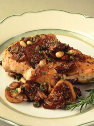 Chicken Saute with Fig-Olive Tapenade