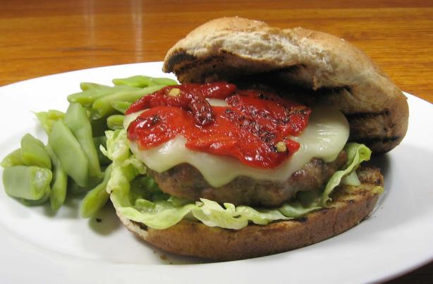 Turkey Burgers With Mozzarella and Roasted Peppers
