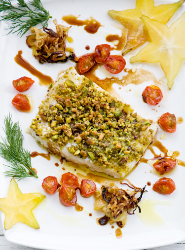 Tom's Pistachio-Crusted Halibut with Fennel Balsamic