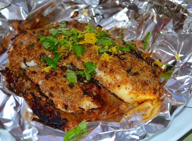 Almond Crusted Tilapia With Caramelized Onions