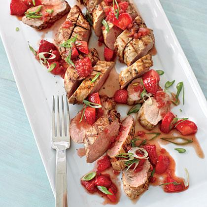 Pork Tenderloin with Strawberry-Balsamic Sauce