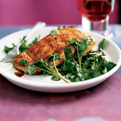 Tom's Wilted Watercress Salmon with Balsamic Drizzle